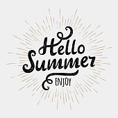 Hello summer, typographic inscription on vintage monochrome sun background