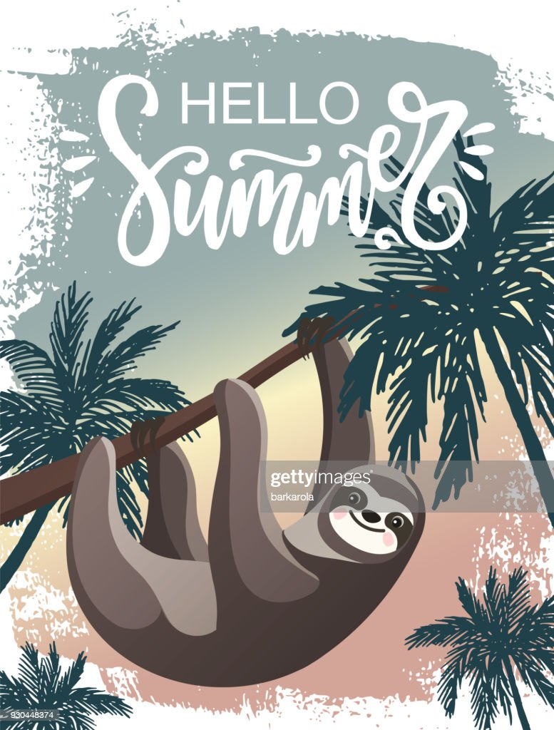 Hello Summer vector poster with a Sloth and palm trees.