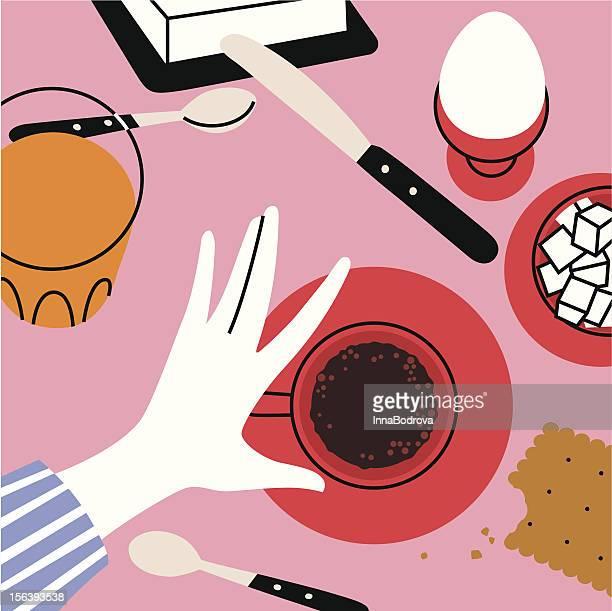 hello! - breakfast cartoon stock illustrations