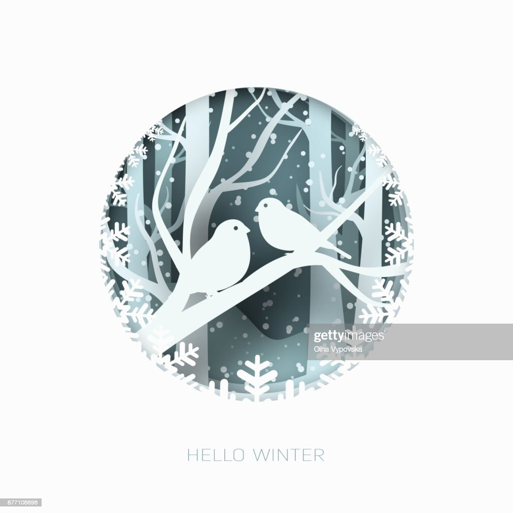 Hello winter 3d abstract paper cut illustration of snow and two birds in the forest. Vector template
