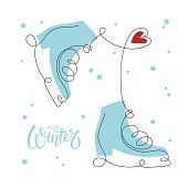 hello winter banner ice skates with