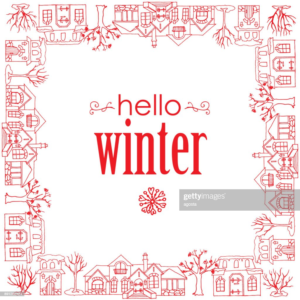 Hello winter, banner with houses, trees and snowflakes on the white background
