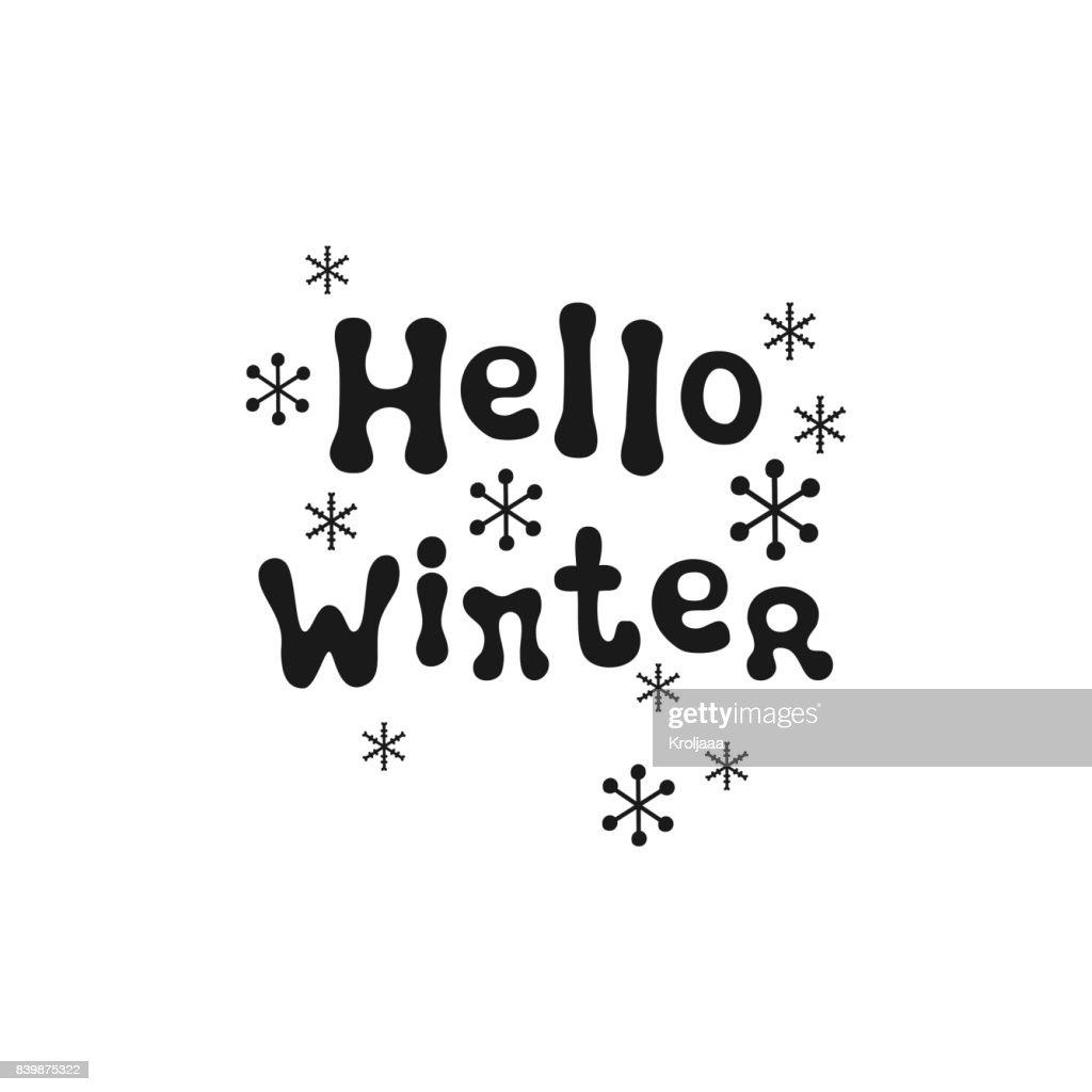 Hello Winter Christmas Calligraphy Phrase Handwritten Brush Seasons