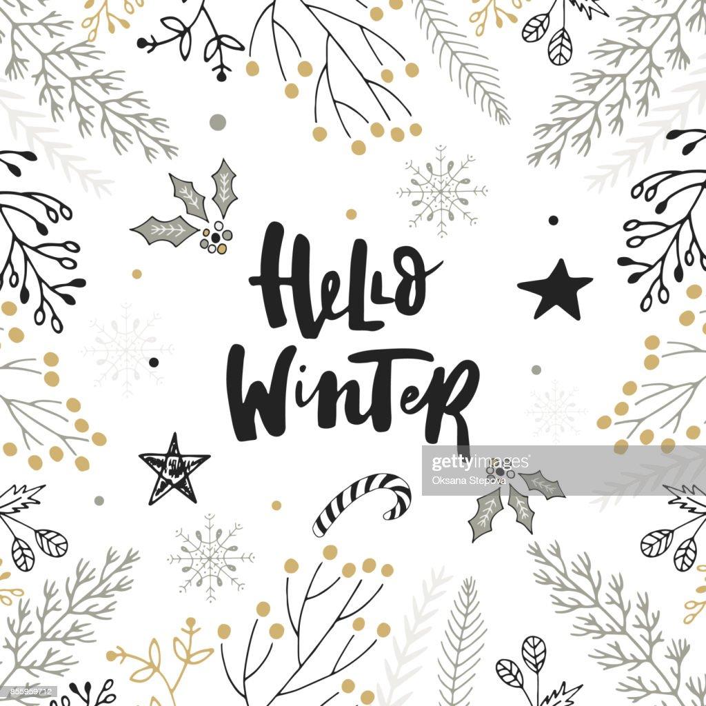 Hallo Winter Hand Gezeichnete Weihnachten Schriftzug Mit Blumen Und ...