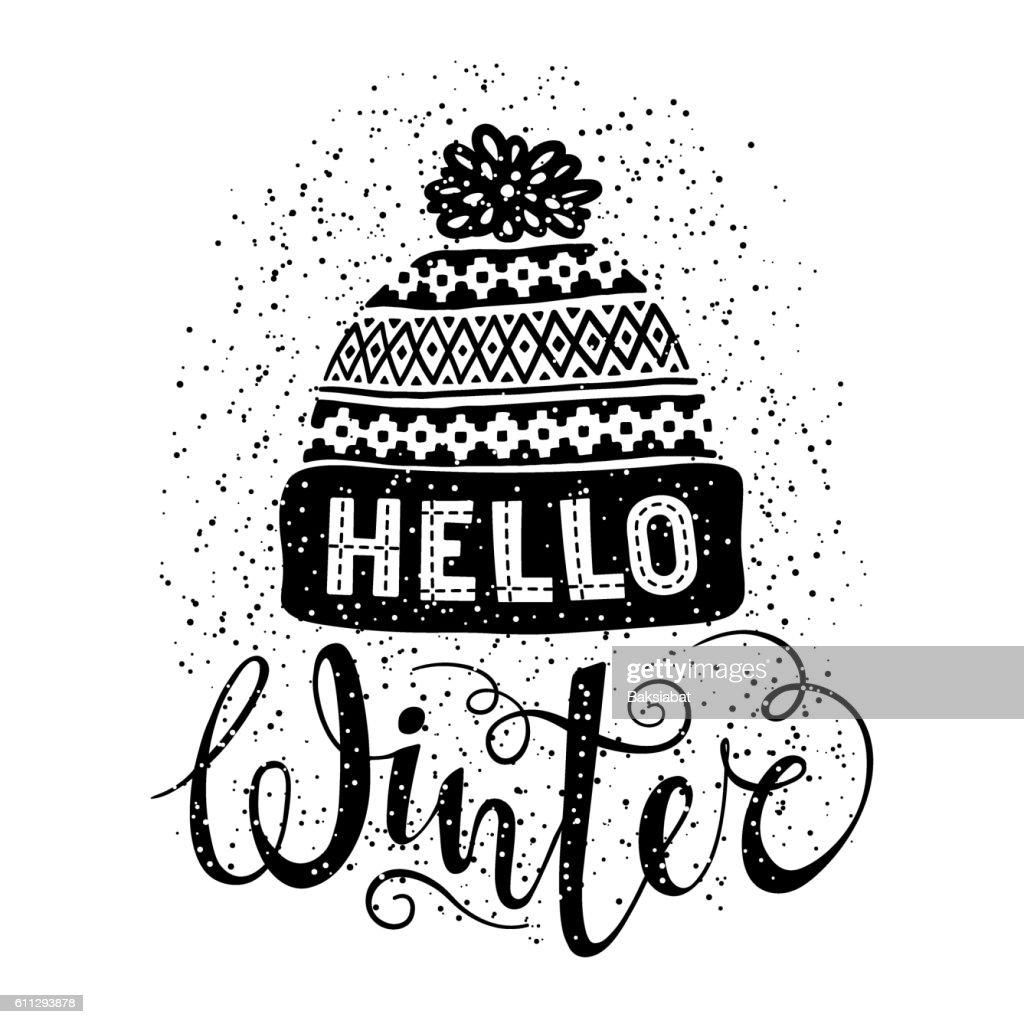 Hello winter text and knitted woolen cap. Seasonal shopping concept
