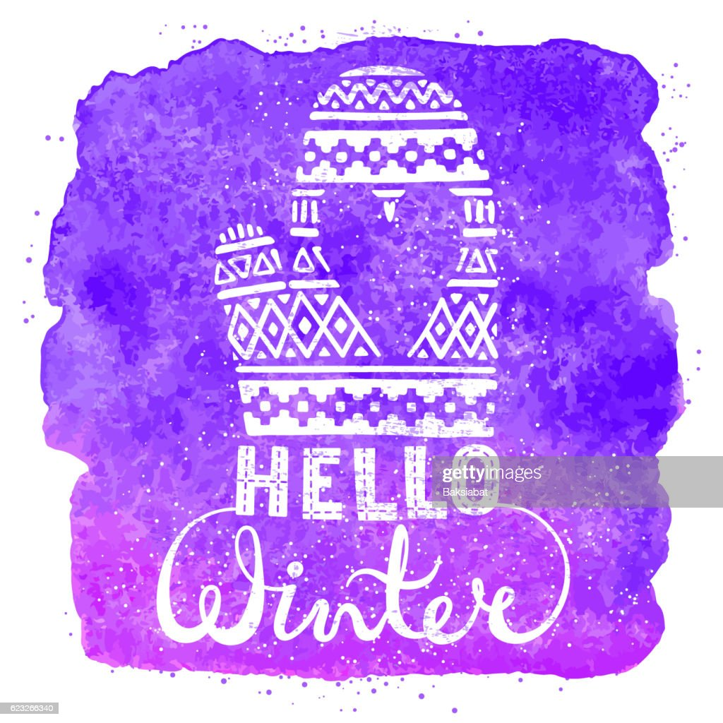 Hello winter text brush lettering and knitted woolen mitten with