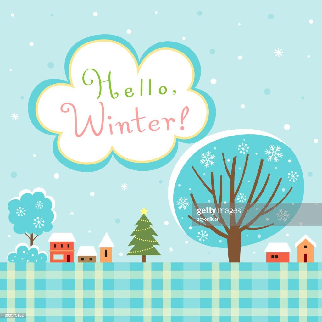Hello Winter village landscape