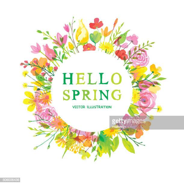 hello wonderful spring - springtime stock illustrations, clip art, cartoons, & icons