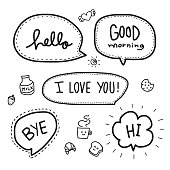Hello word bubble vector set illustration