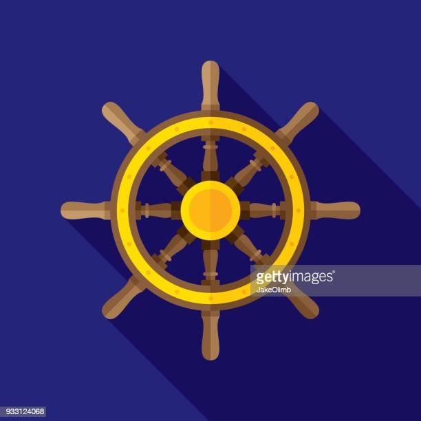helm icon flat - boat captain stock illustrations, clip art, cartoons, & icons