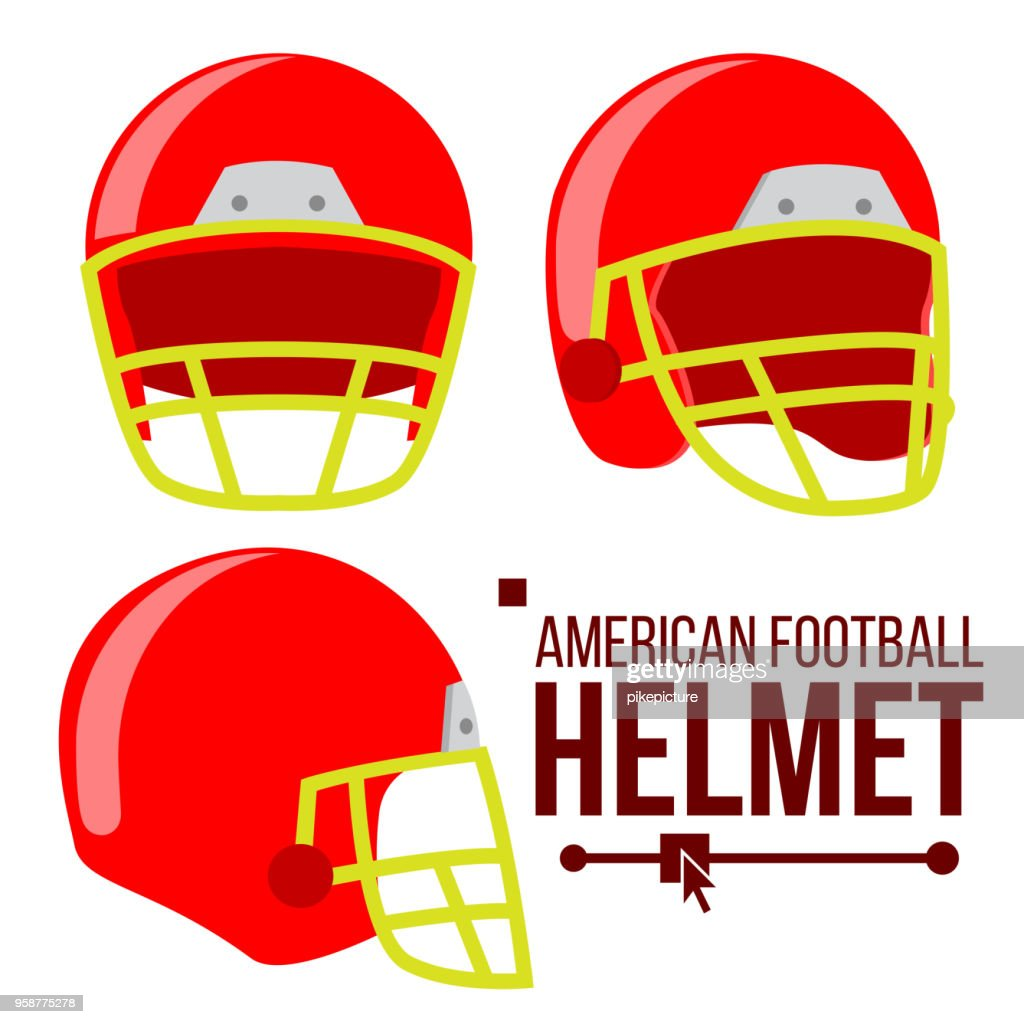 Helmet American Football Vector. Classic Red Rugby Head Protection Helm. Sport Equipment. Isolated Flat Illustration