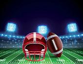 helmet ball and american football field eps 10