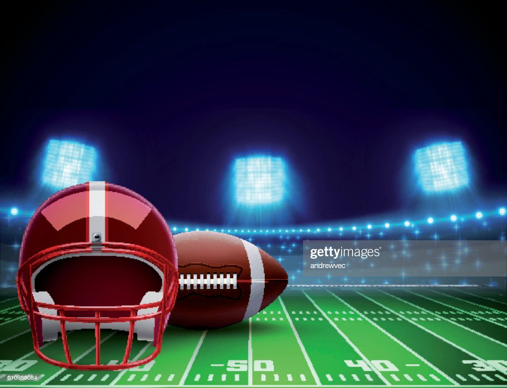 helmet ball and american football field eps 10