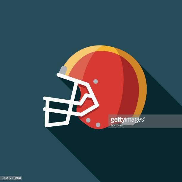 helmet flat design football game icon - football helmet stock illustrations