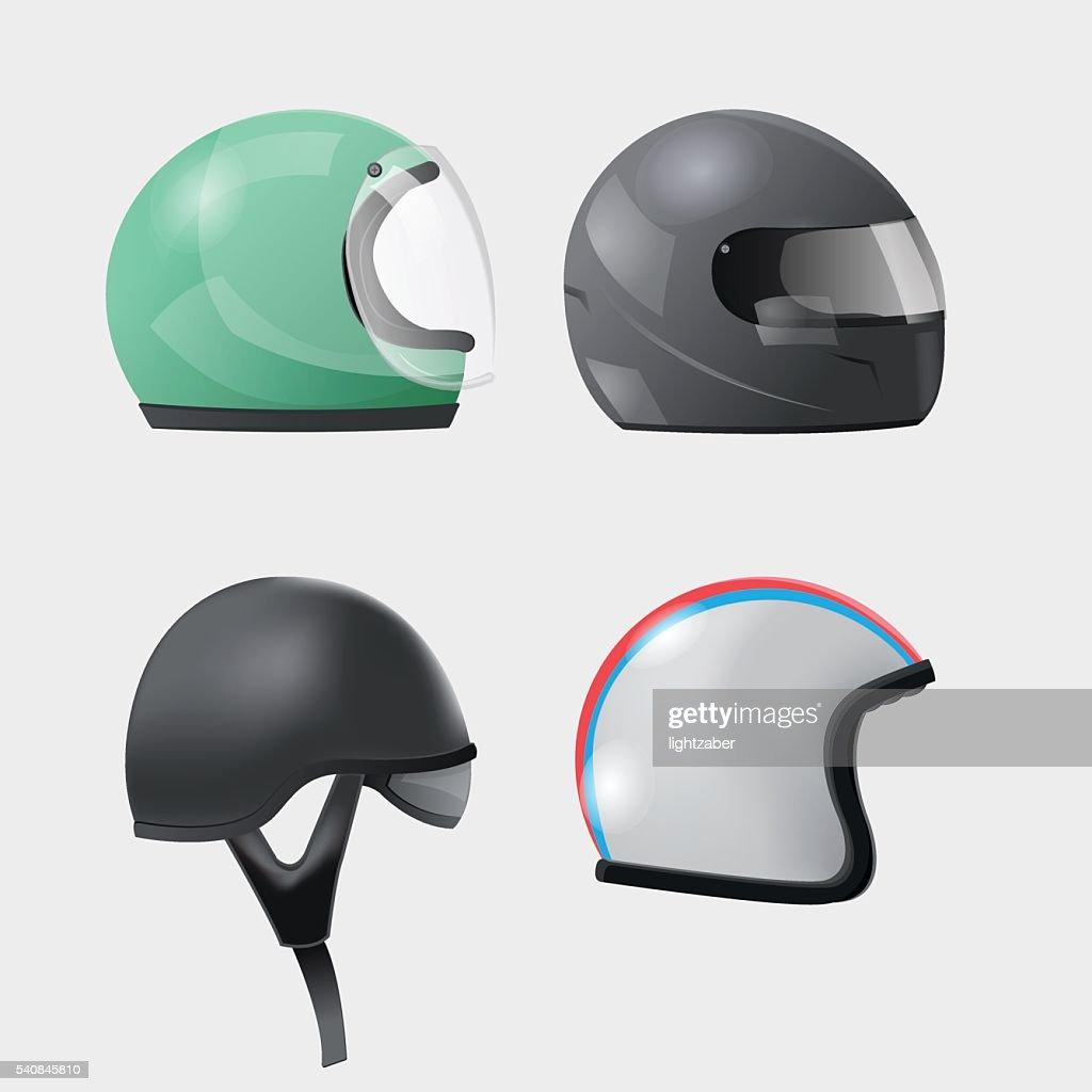Helmet Head Isolate Design Set Vector