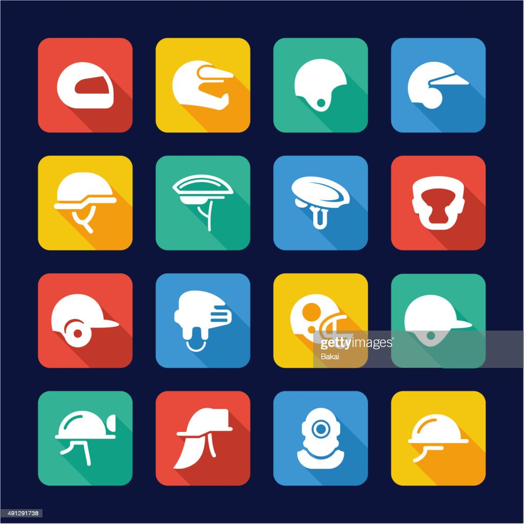 Helmet Icons Flat Design