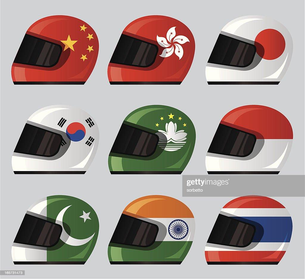 Helmet National Flag Icon : stock illustration