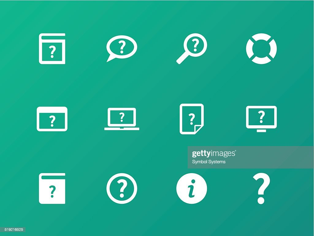 Help and FAQ icons on green background.