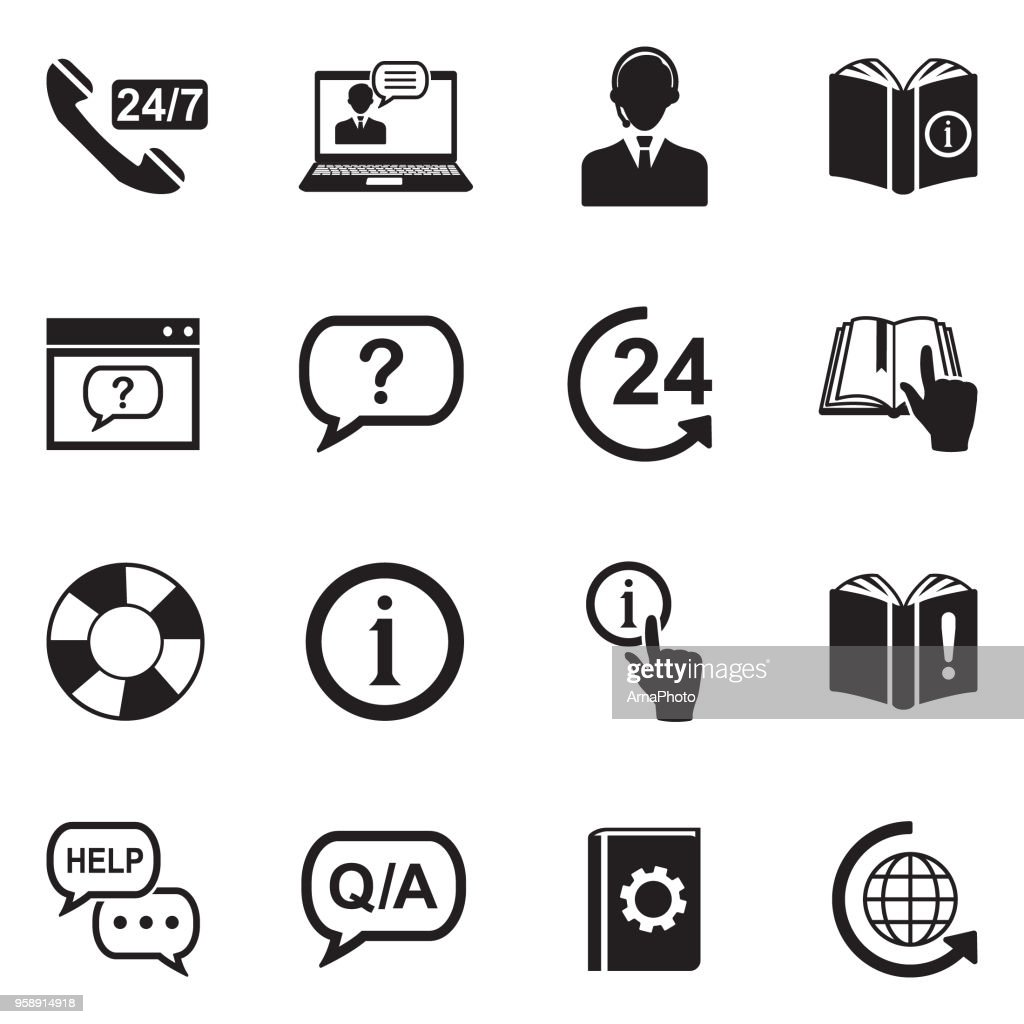 Help And Support Icons. Black Flat Design. Vector Illustration.