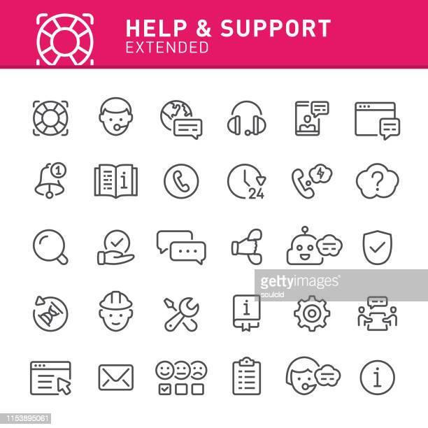 hilfe und unterstützung von ikonen - anweisungen konzepte stock-grafiken, -clipart, -cartoons und -symbole