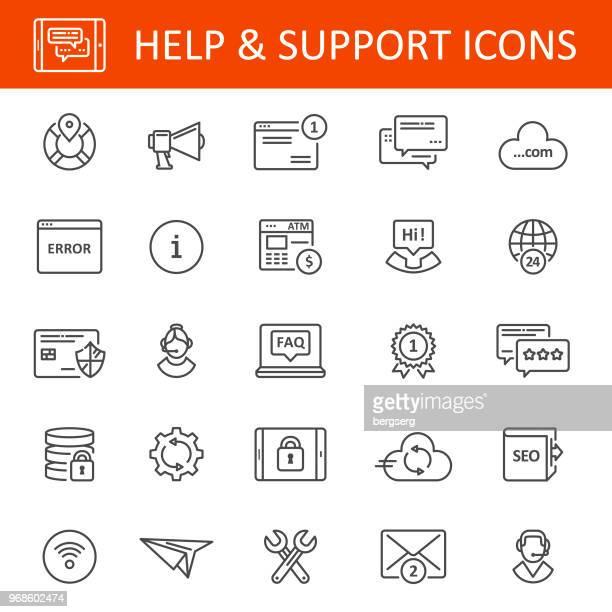 stockillustraties, clipart, cartoons en iconen met help en ondersteuning-pictogrammen - foutmelding