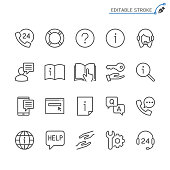 Help and support line icons. Editable stroke. Pixel perfect.
