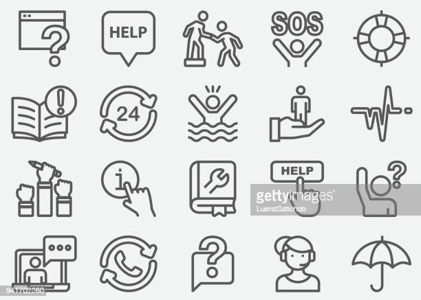 illustrazioni stock, clip art, cartoni animati e icone di tendenza di help and support line icons - sostegno morale
