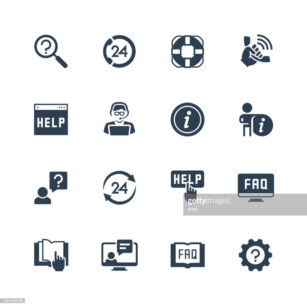 Help and support vector icon set in glyph style