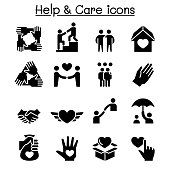 Help, care, Friendship, Generous & Charity icon set