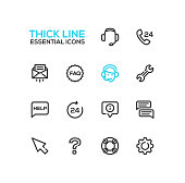 Help Center - Thick Single Line Icons Set