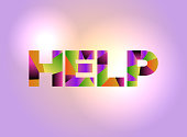 Help Concept Colorful Word Art Illustration