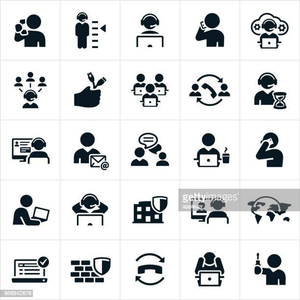 help desk icons - using phone stock illustrations