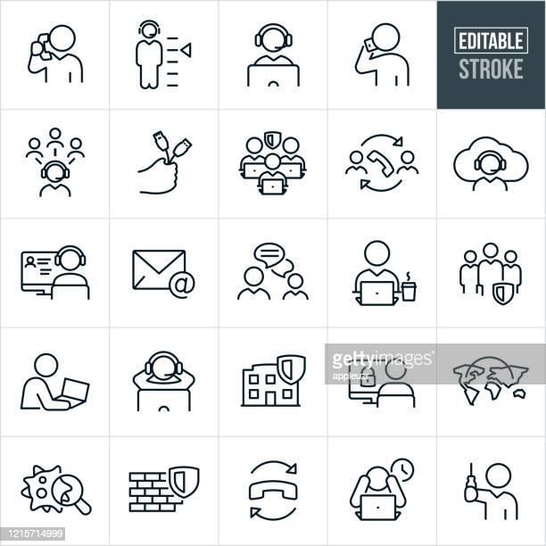 illustrazioni stock, clip art, cartoni animati e icone di tendenza di icone linea sottile dell'help desk - tratto modificabile - call center