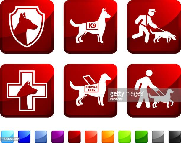 help dog for blind and police vector icon set stickers - dog leash stock illustrations
