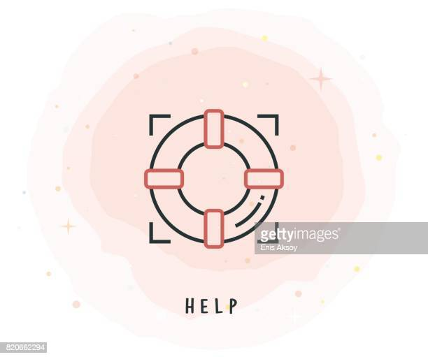 Help Icon with Watercolor Patch