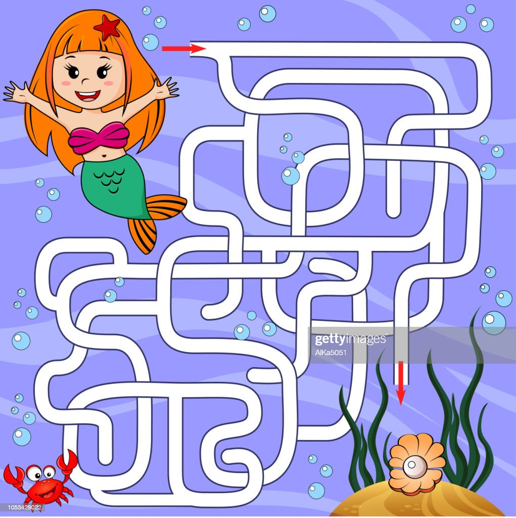 Help mermaid find path to pearl. Labyrinth. Maze game for kids