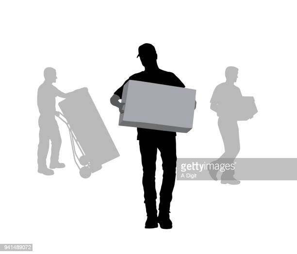help move boxes - hand truck stock illustrations, clip art, cartoons, & icons