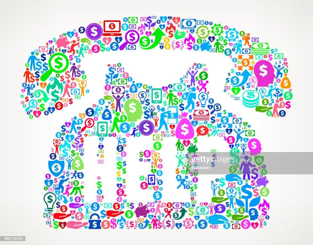 Telefonleitung Geld Vektormuster Symbol helfen : Stock-Illustration