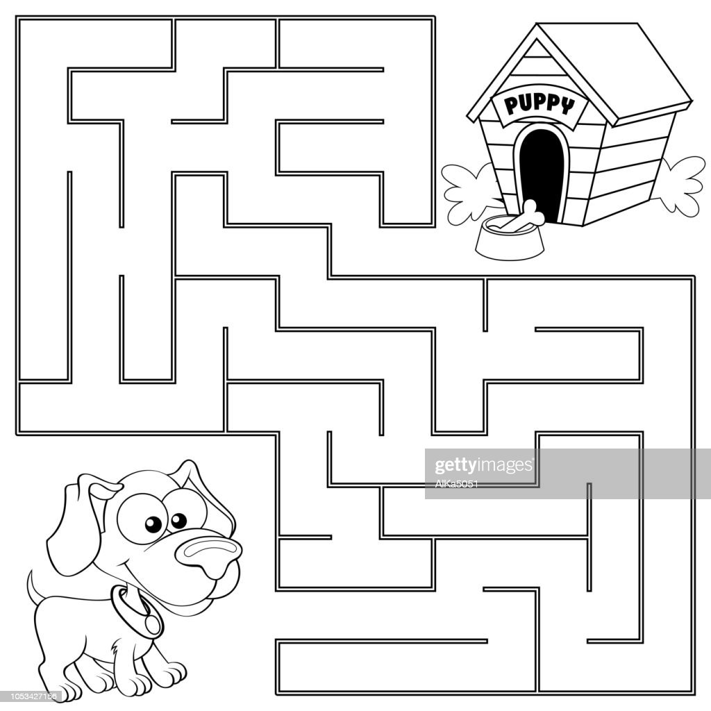 Help puppy find path to his house. Labyrinth. Maze game for kids. Black and white vector illustration for coloring book