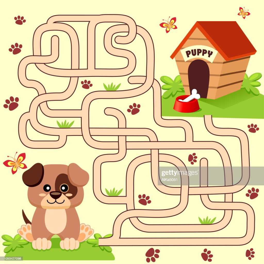 Help puppy find path to his house. Labyrinth. Maze game for kids