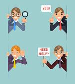 Help Support Listen Overhear Spy Looking Out Corner Idea Cartoon