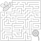 Help the funny bee find right way to the flower.