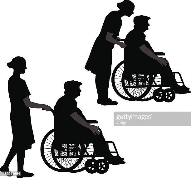 help vector silhouette - wheelchair stock illustrations, clip art, cartoons, & icons