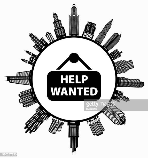 help wanted sign on modern cityscape skyline background - commercial real estate sign stock illustrations