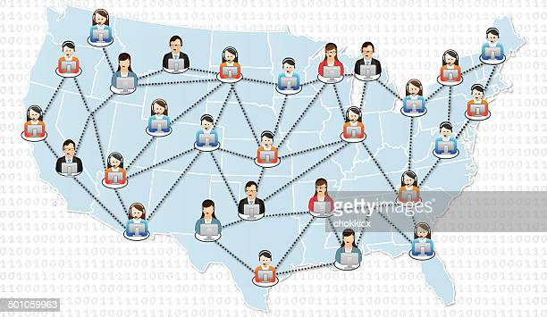 helpdesk support in the united states - assistant stock illustrations, clip art, cartoons, & icons