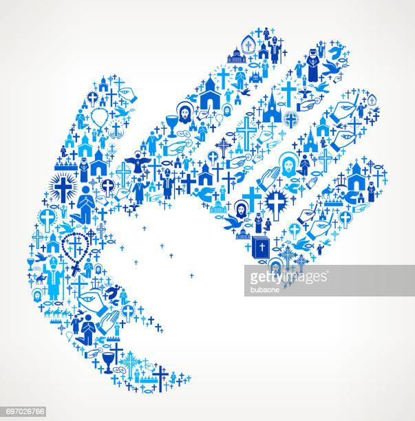 helping child hand christianity and religion vector illustration - protestantism stock illustrations, clip art, cartoons, & icons