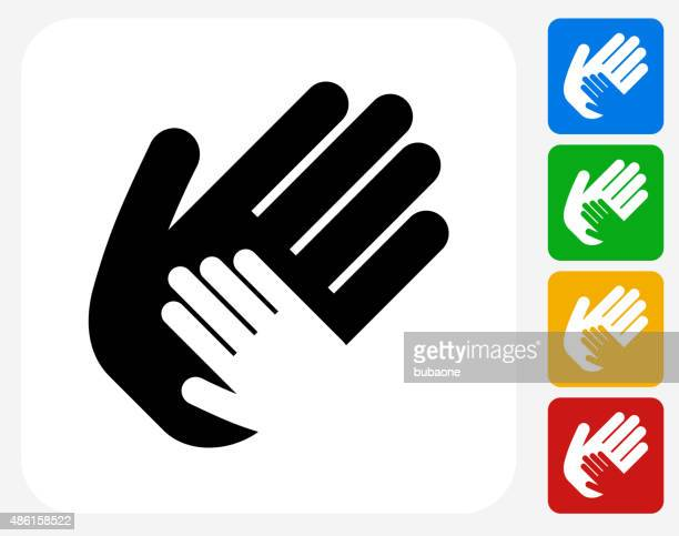 Helping Child Hand Icon Flat Graphic Design