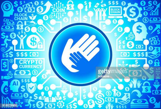 Helping Child Hand Icon on Money and Cryptocurrency Background