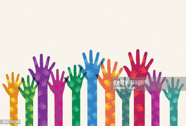helping colored hands - social responsibility stock illustrations