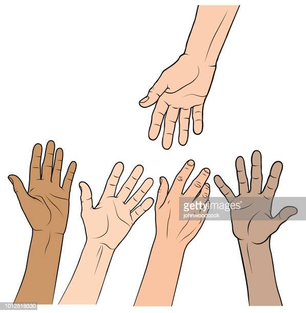 a helping hand illustration - hand stock illustrations